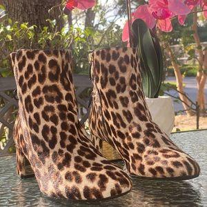 Tory Burch Cheetah Calf Hair Ankle Heel Boots
